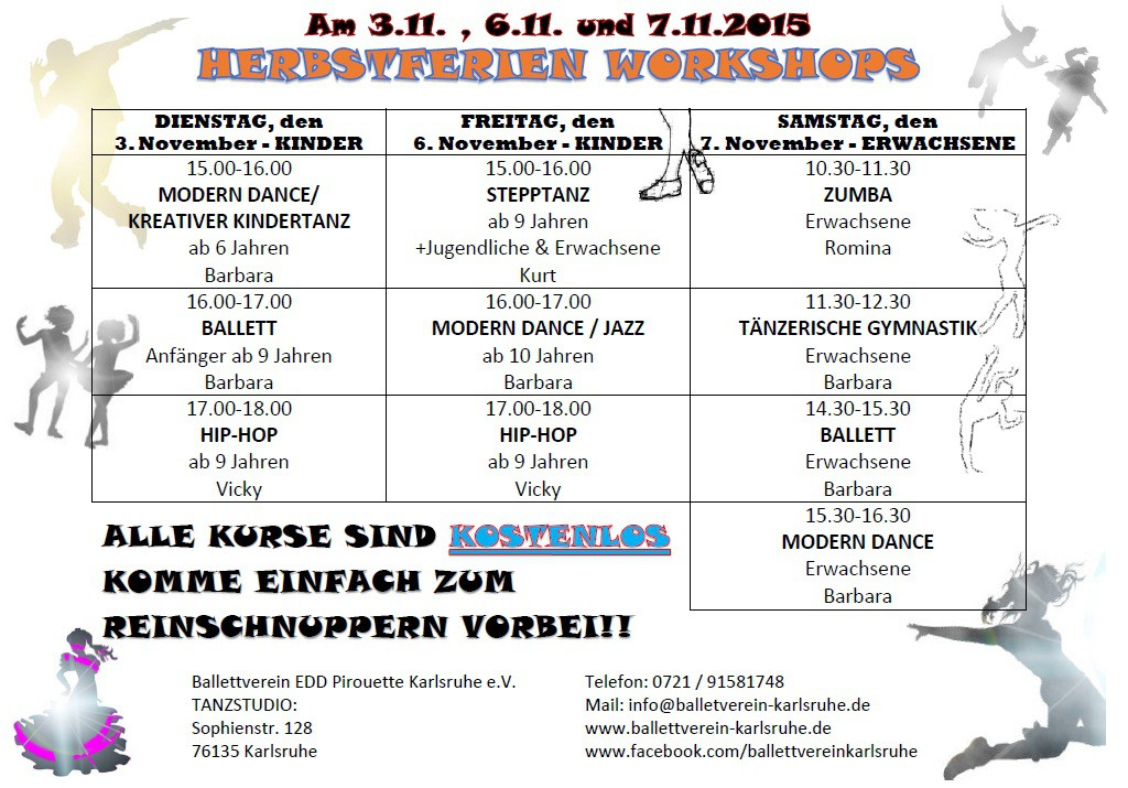 Herbstferien_Workshops Ballettverein Karlsruhe