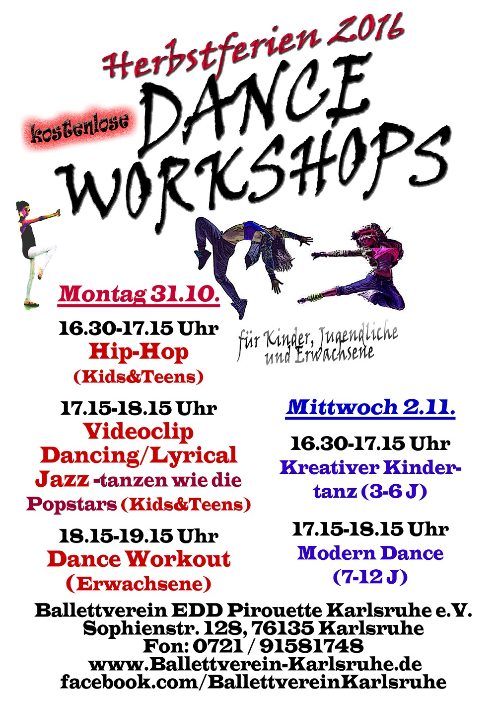 Ballett Dance Workshops Herbstferien 2016